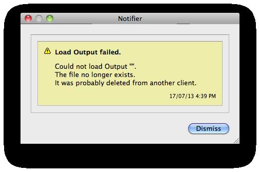 Load Output Failed – Notifier Error Message | Serendipity Software